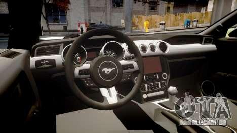 Ford Mustang GT 2015 Custom Kit black stripes gt para GTA 4 vista interior