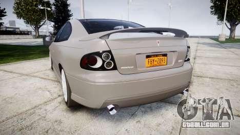 Pontiac GTO 2006 17in wheels para GTA 4 traseira esquerda vista