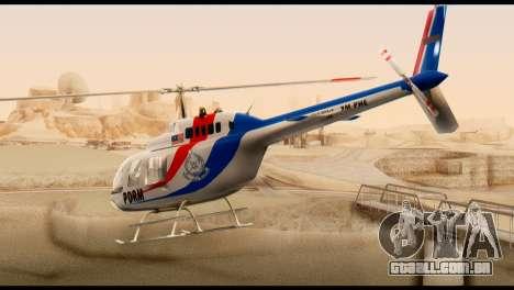 Malaysian Polis Helicopter Eurocopter Squirrel para GTA San Andreas esquerda vista