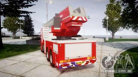 Scania R580 Dutch Fireladder [ELS] para GTA 4 traseira esquerda vista