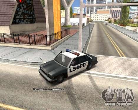 Car Name para GTA San Andreas quinto tela