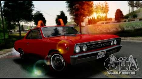 Chevrolet Chevelle SS 396 L78 Hardtop Coupe 1967 para GTA San Andreas vista traseira