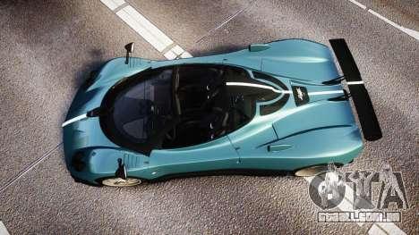 Pagani Zonda Cinque Roadster 2010 para GTA 4 vista direita