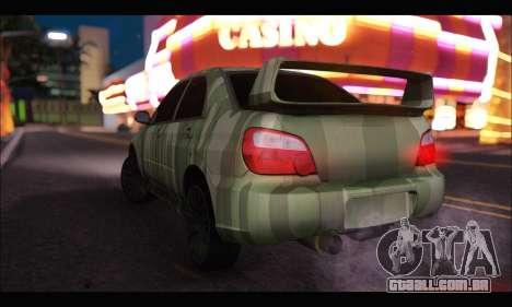 Subaru Impreza WRX Camo para GTA San Andreas traseira esquerda vista
