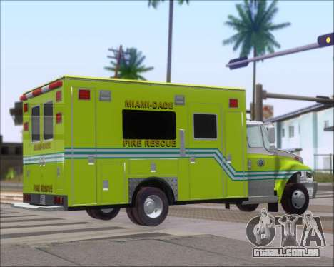 Pierce Commercial Miami Dade Fire Rescue 12 para GTA San Andreas traseira esquerda vista