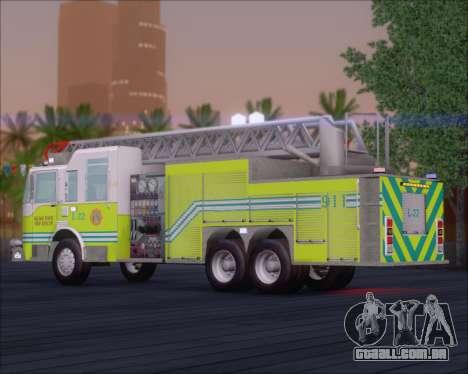 Pierce Arrow XT Miami Dade FD Ladder 22 para GTA San Andreas traseira esquerda vista
