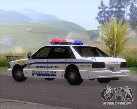 Police LS Metropolitan Police para GTA San Andreas traseira esquerda vista