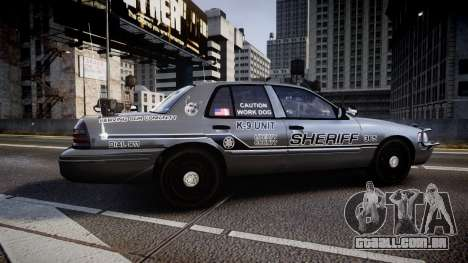 Ford Crown Victoria Sheriff K-9 Unit [ELS] pushe para GTA 4 esquerda vista