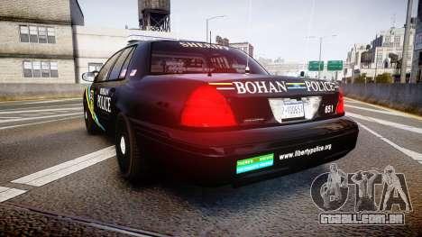 Ford Crown Victoria Sheriff Bohan [ELS] para GTA 4 traseira esquerda vista
