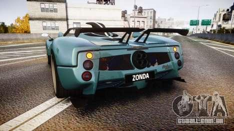 Pagani Zonda Cinque Roadster 2010 para GTA 4 traseira esquerda vista