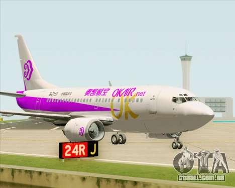 Boeing 737-500 Okay Airways para GTA San Andreas vista interior