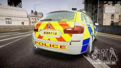 BMW 525d F11 2014 Metropolitan Police [ELS] para GTA 4 traseira esquerda vista