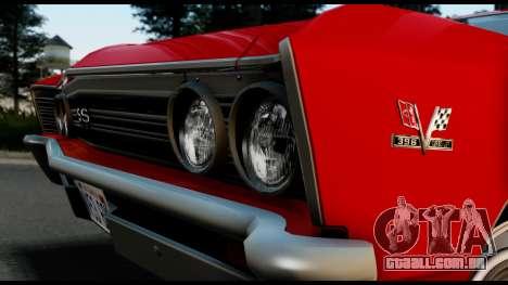Chevrolet Chevelle SS 396 L78 Hardtop Coupe 1967 para GTA San Andreas vista direita