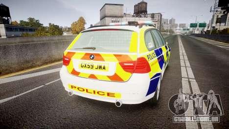 BMW 325d E91 2009 Sussex Police [ELS] para GTA 4 traseira esquerda vista