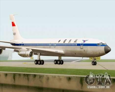 Boeing 707-300 CAAC para GTA San Andreas vista traseira