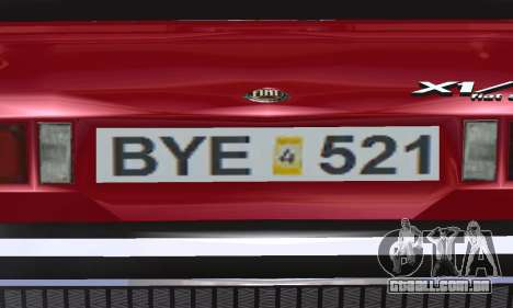 Fiat Bertone X1 9 para vista lateral GTA San Andreas