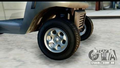 GTA 5 Caddy v2 para GTA San Andreas traseira esquerda vista