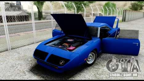 Plymouth Roadrunner Superbird RM23 1970 HQLM para GTA San Andreas vista traseira