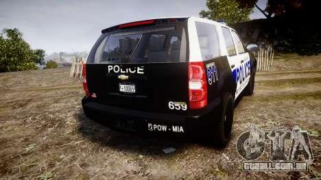 Chevrolet Tahoe 2010 Police Algonquin [ELS] para GTA 4 traseira esquerda vista