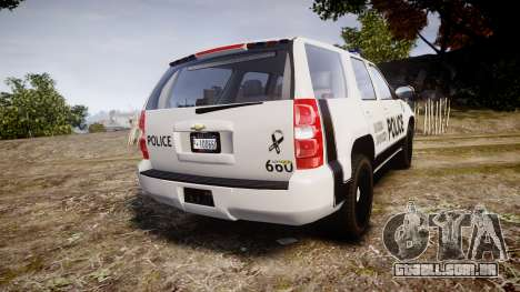 Chevrolet Tahoe 2010 Sheriff Dukes [ELS] para GTA 4 traseira esquerda vista