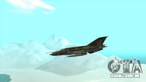 MiG 21 da força aérea Soviética para GTA San Andreas vista interior