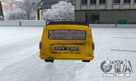 Reliant Supervan Only Fools and Horses para GTA San Andreas vista traseira