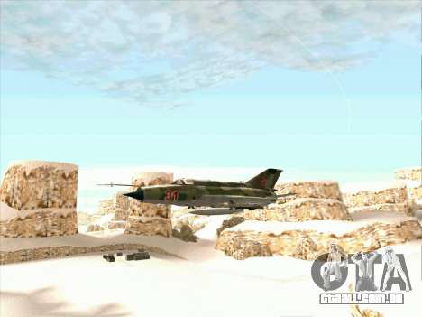 MiG 21 da força aérea Soviética para GTA San Andreas traseira esquerda vista