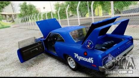 Plymouth Roadrunner Superbird RM23 1970 HQLM para GTA San Andreas vista interior