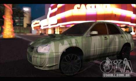 Subaru Impreza WRX Camo para GTA San Andreas esquerda vista