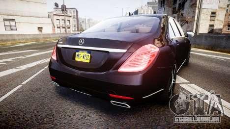 Mercedes-Benz S500 W222 para GTA 4 traseira esquerda vista
