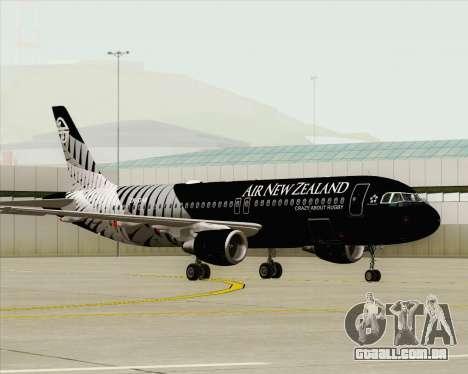 Airbus A320-200 Air New Zealand para GTA San Andreas vista interior