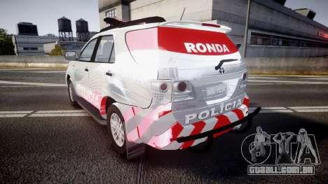 Toyota Hilux SW4 2014 Ronda PMCE [ELS] para GTA 4 traseira esquerda vista