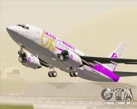 Boeing 737-500 Okay Airways para vista lateral GTA San Andreas