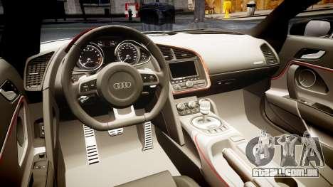 Audi R8 E-Tron 2014 dual tone para GTA 4 vista interior