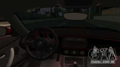 BMW Z4 M85 para GTA San Andreas vista traseira
