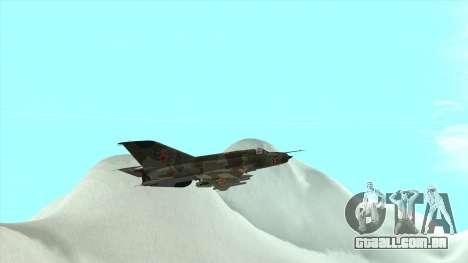 MiG 21 da força aérea Soviética para vista lateral GTA San Andreas