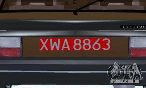 FSO Polonez 2.0X Coupe para GTA San Andreas vista superior