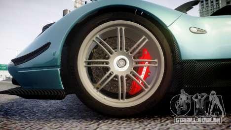 Pagani Zonda Cinque Roadster 2010 para GTA 4 vista de volta