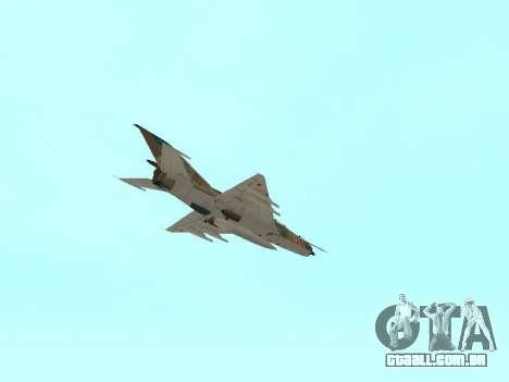 MiG 21 da força aérea Soviética para GTA San Andreas vista inferior