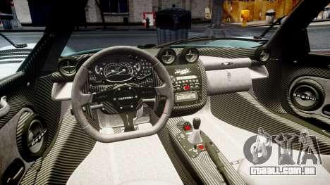 Pagani Zonda Cinque Roadster 2010 para GTA 4 vista lateral