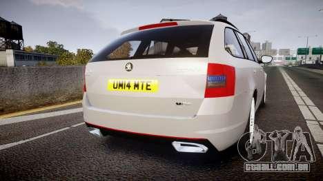 Skoda Octavia Combi vRS 2014 [ELS] Unmarked para GTA 4 traseira esquerda vista