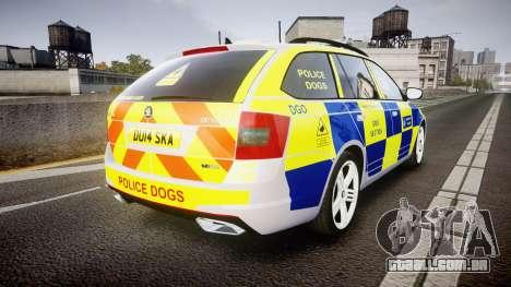 Skoda Octavia Combi vRS 2014 [ELS] Dog Unit para GTA 4 traseira esquerda vista