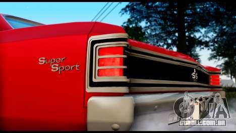 Chevrolet Chevelle SS 396 L78 Hardtop Coupe 1967 para GTA San Andreas traseira esquerda vista