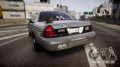 Ford Crown Victoria Sheriff K-9 Unit [ELS] pushe para GTA 4 traseira esquerda vista