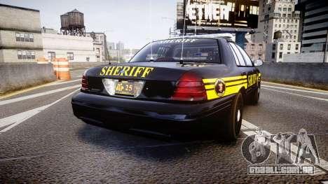 Ford Crown Victoria Sheriff [ELS] black para GTA 4 traseira esquerda vista