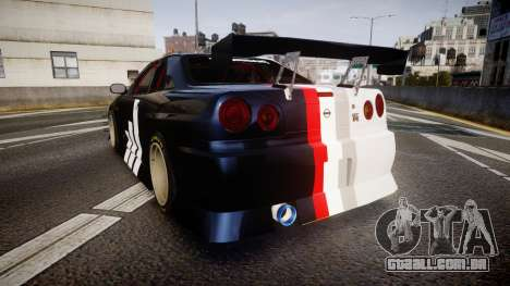 Nissan Skyline R34 GT-R Drift para GTA 4 traseira esquerda vista