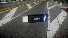 A unidade flash USB da Sony azul