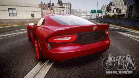 Dodge Viper SRT 2013 rims1 para GTA 4 traseira esquerda vista