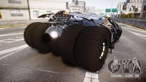 Batman tumbler [EPM] para GTA 4 traseira esquerda vista