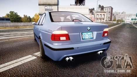 BMW M5 E39 stock para GTA 4 traseira esquerda vista